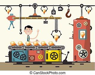 apartamento, illustration., concept., trabalhador, producao, vetorial, desenho, factory., bulbo, linha, fabricando