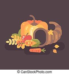 apartamento, illustration., cornucópia, ação graças, outono, fundo, frutas, colheita, vegetables.