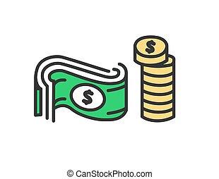 apartamento, illustration., dólar, moedas, dinheiro., vetorial, desenho, ícone