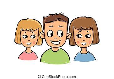 apartamento, illustration., experiência., meninas, jovem, isolado, sorrir., vetorial, dois, branca, style., sujeito, caricatura