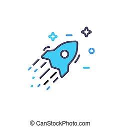 apartamento, illustration., foguete, simples, isolado, nave espacial, experiência., vetorial, estrelas, ícone, branca, design., navio, colorido