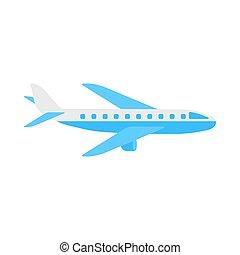 apartamento, illustration., isolado, aeronave, vetorial, fundo, avião, branca, ícone