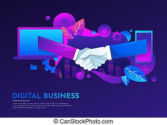 apartamento, illustration., pessoas negócio, móvel, embora, caderno, virtual, mão, vetorial, digital, abanar, reunião