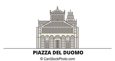 apartamento, illustration., piazza, cidade, itália, marcos,...