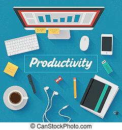 apartamento, illustration:, produtividade