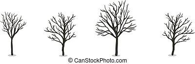 apartamento, illustration., set., isolado, árvores, outono, experiência., vetorial, branca