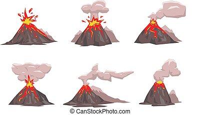 apartamento, illustration., set., isolado, experiência., vetorial, vulcão, branca, ícone