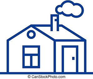 apartamento, illustration., sinal, casa, concept., símbolo, vetorial, linha, ícone, chaminé, esboço