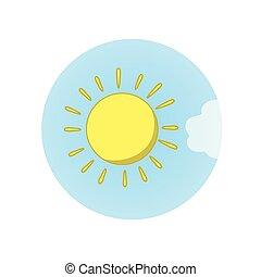 apartamento, illustration., sol, isolado, experiência., vetorial, weather., nuvem branca