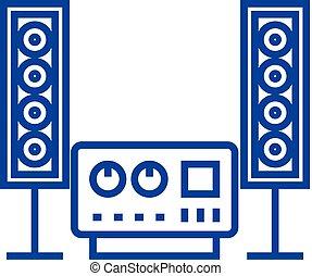 apartamento, illustration., som, estéreo, sinal, concept., sistema, símbolo, vetorial, fi, olá, ícone, linha, esboço