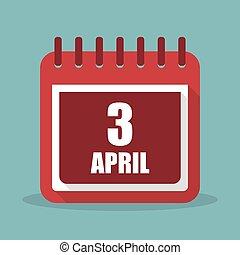 apartamento, ilustração, abril, 3, vetorial, calendário, design.