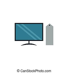apartamento, ilustração computador, vetorial, desenho, icon., colered