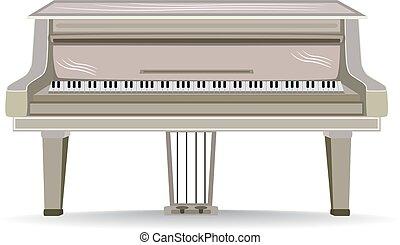 apartamento, ilustração, instrumento, vetorial, piano grande, musical