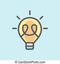 apartamento, ilustração, lâmpada, vetorial, luminoso, ícone, design.