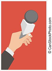 apartamento, ilustração, mão, vetorial, segurando, entrevista coletiva, icon., microfone