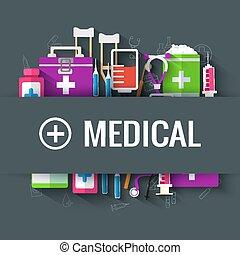 apartamento, ilustração médica, vetorial, desenho, fundo, concept.