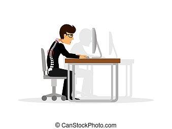 apartamento, ilustração, para, escritório, syndrome., errado, sentando, em, a, workplace., olhos, inflamação, obesidade, dor estômago, joelhos, dor, dor de cabeça, mãos, dor, dor traseira baixa