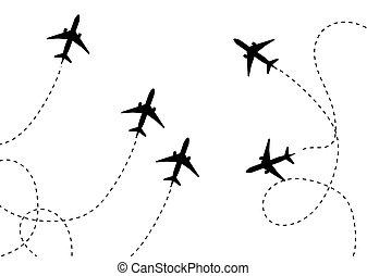 apartamento, ilustração, pictograma, isolado, avião, vetorial, white., v, ícone