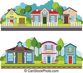 apartamento, ilustração, residencial, urbano, casas, vetorial, vila, paisagem