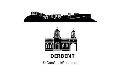 apartamento, ilustração, set., landmarks., símbolo, skyline,...