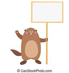 apartamento, ilustração, sinal, segurando, em branco, board., groundhog