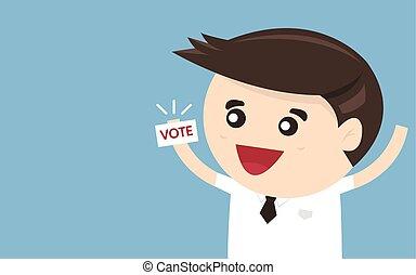 apartamento, ilustração, vetorial, desenho, homem negócios, voto