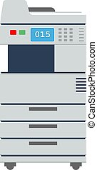 apartamento, impressora, scanner, escritório, cor, grande, multi-function, vetorial, copier., icon., ou, illustration.