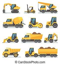 apartamento, industrial, ícones, equipamento, vetorial, maquinaria, construção
