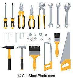 apartamento, industrial, ícones, hardware, vetorial, construção, ferramentas