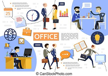apartamento, infographic, escritório negócio, modelo