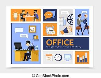 apartamento, infographic, negócio, modelo