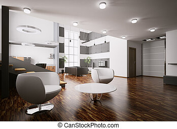 apartamento, interior, 3d, render