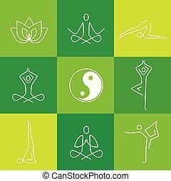 apartamento, ioga, verde, icons.