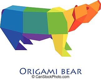 apartamento, isolado, urso, cinzento, desenho, Ilustração, fundo,  Origami