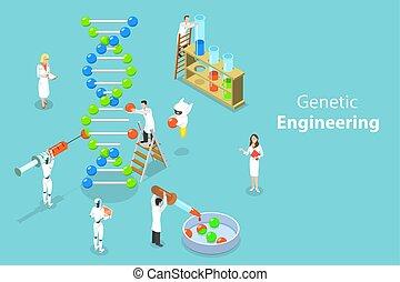 apartamento, isometric, conceito, adn, engenharia, genético, vetorial, changing., estrutura