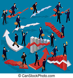 apartamento, isometric, conceito, success., carreira negócio, pessoas., ilustração, escada, crescimento, caminho, 3d