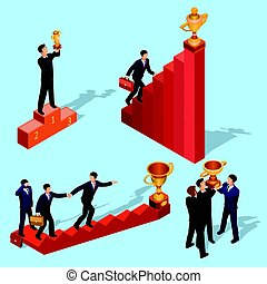 apartamento, isometric, conceito, success., carreira negócio, pessoas., ilustração, escada, vetorial, crescimento, caminho, 3d