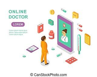 apartamento, isometric, doutor, infographics, concept., character., ilustração, vetorial, online, consulta, médico