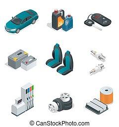 apartamento, isometric, illustration., serviço, car, vetorial, manutenção, elements., icon., 3d