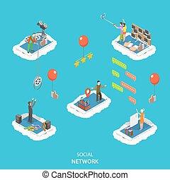apartamento, isometric, illustration., vetorial, social, rede