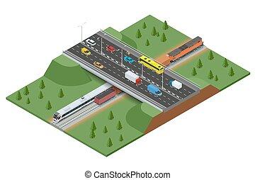 apartamento, isometric, pista, trem, train., modernos, alto, vetorial, frete, estrada ferro, traffic., velocidade, concept., estrada, 3d