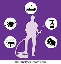 apartamento, isometric, service., car, ilustração, lavagem, vetorial, 3d