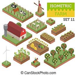 apartamento, isometric, terra, cidade, fazenda, isolado, cobrança, mapa, infographic, white., construtor, próprio, 3d, seu, elementos, construir