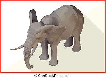 apartamento, isometric, vetorial, elefante, 3d