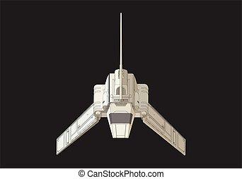 apartamento, isometric, vetorial, nave espacial, 3d