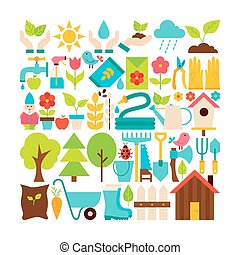 apartamento, jardim, objetos, primavera, cobrança, vetorial, grande