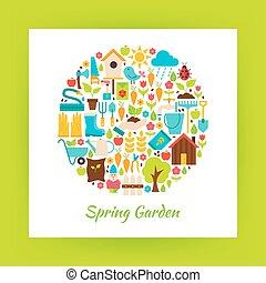 apartamento, jardim, objetos, primavera, sobre, papel, círculo, branca