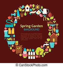 apartamento, jardim, primavera, cobrança, objetos, círculo