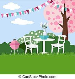 apartamento, jardim, primavera, florescer, árvore, vetorial, churrasco, fundo, cereja, partido, desenho
