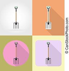 apartamento, jardinagem, ícones, ferramenta, ilustração, pitchfork, vetorial